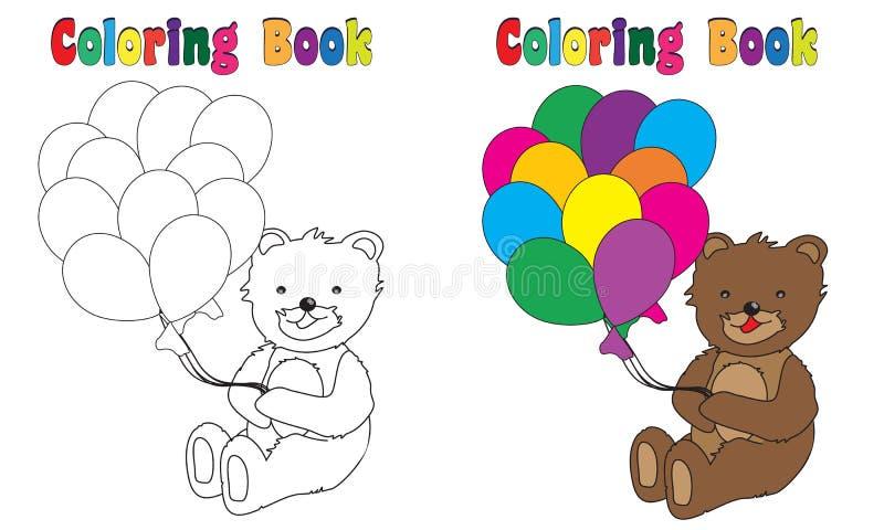 Färgläggningbok Teddy Balloons vektor illustrationer