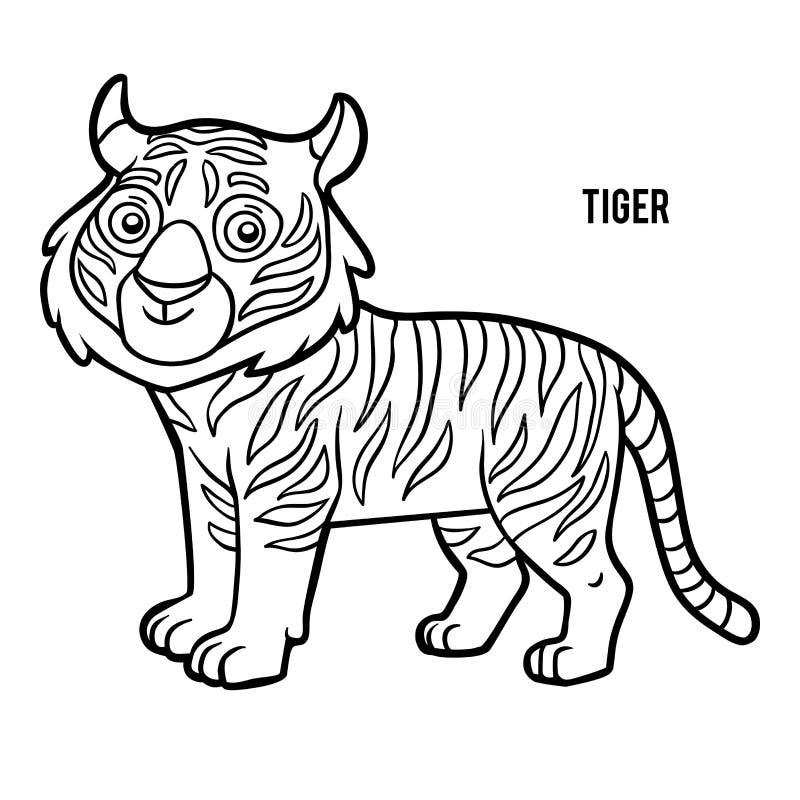 Färgläggningbok, tiger royaltyfri illustrationer
