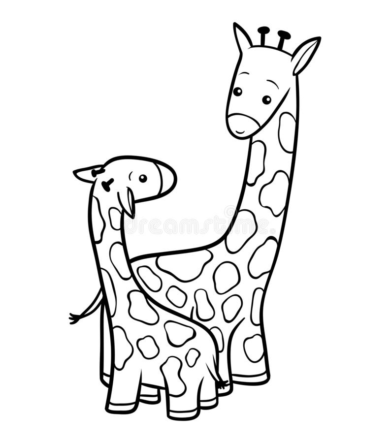 Färgläggningbok, två giraff stock illustrationer