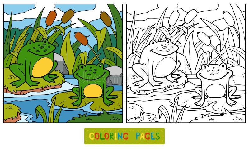 Färgläggningbok (två grodor och bakgrund) royaltyfri illustrationer