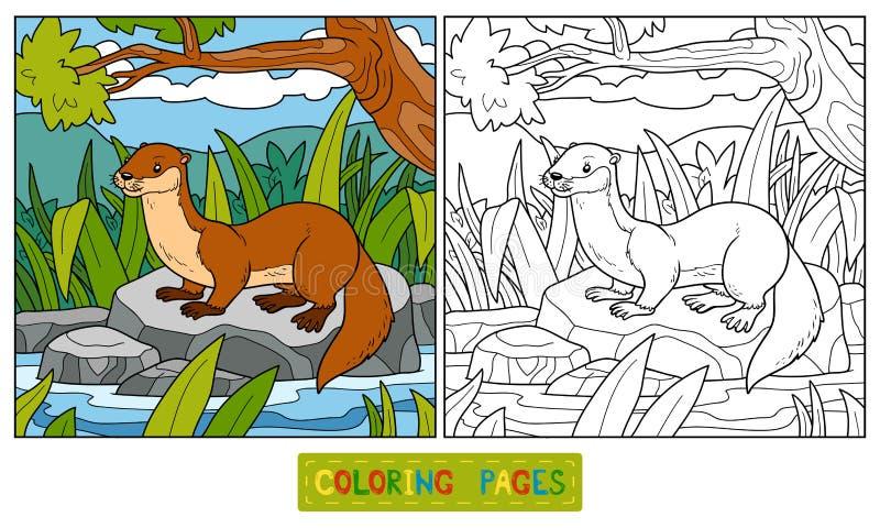 Färgläggningbok (uttern och bakgrund) stock illustrationer