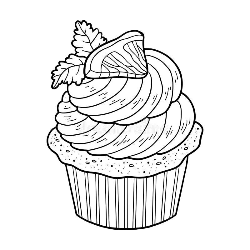 Färgläggningbok, vektormuffin med citronen stock illustrationer