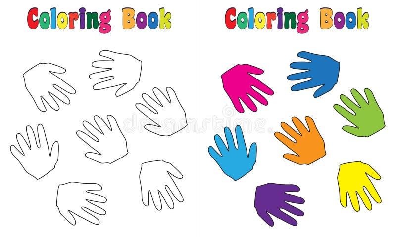 Färgläggningboken behandla som ett barn händer royaltyfri illustrationer
