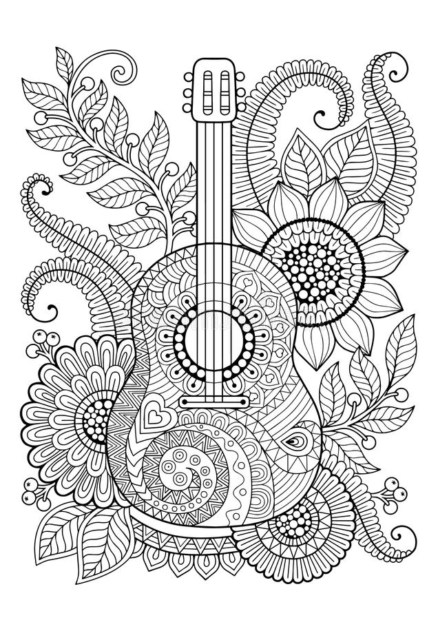 Färgläggningboken för vuxen människa och kopplar av gitarr Maxican vektor illustrationer