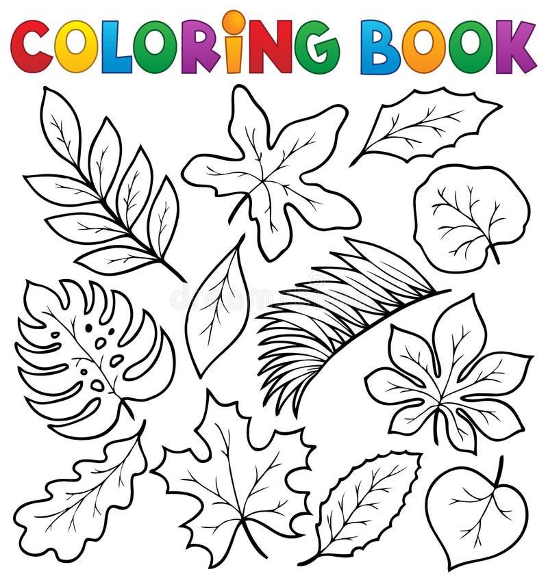 Färgläggningboken lämnar tema 1 royaltyfri illustrationer