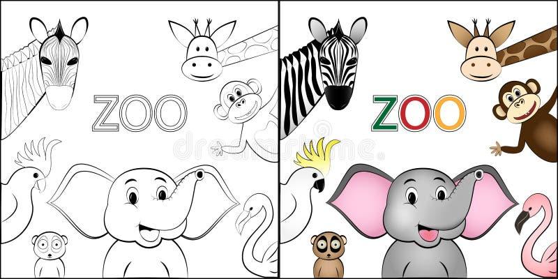 Färgläggningboken, lösa lyckliga djur för den olika tecknade filmen lokaliseras runt om utrymmet för text som isoleras på den vit vektor illustrationer