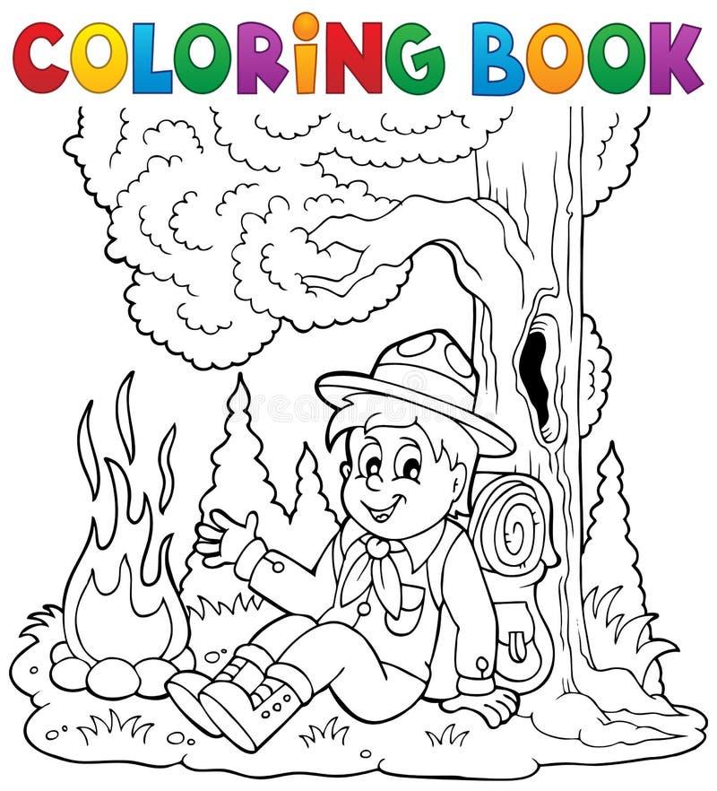 Färgläggningboken spanar pojketema 1 vektor illustrationer