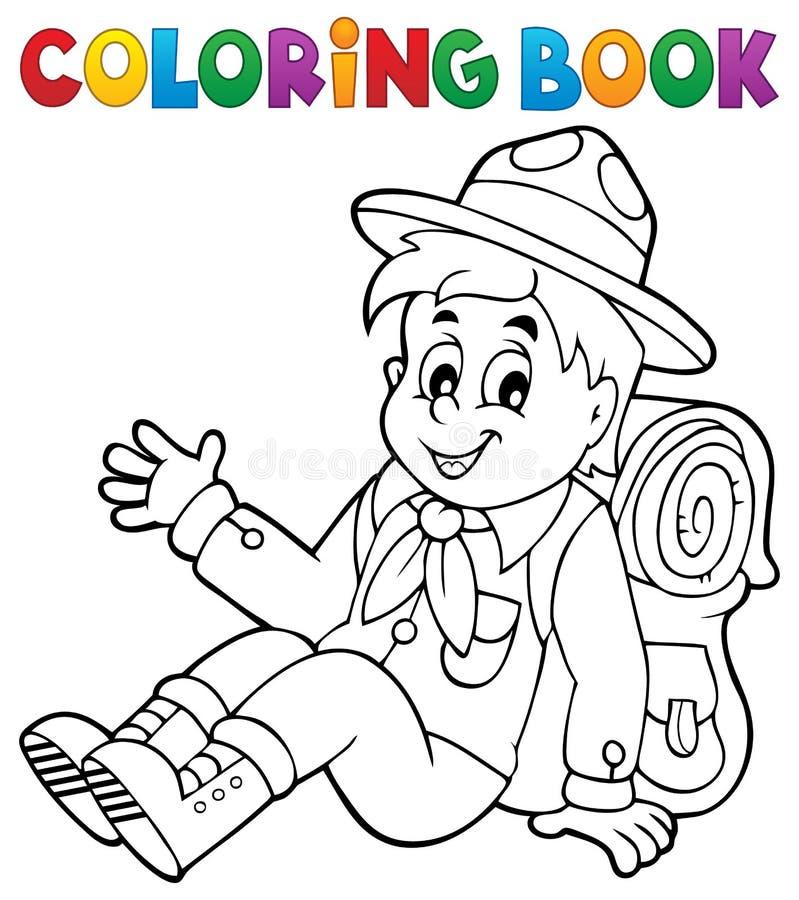 Färgläggningboken spanar pojketema 2 royaltyfri illustrationer