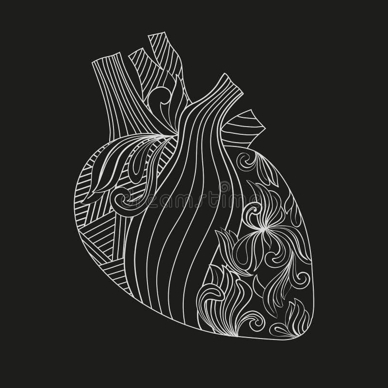 Färgläggningillustration av hjärta stock illustrationer