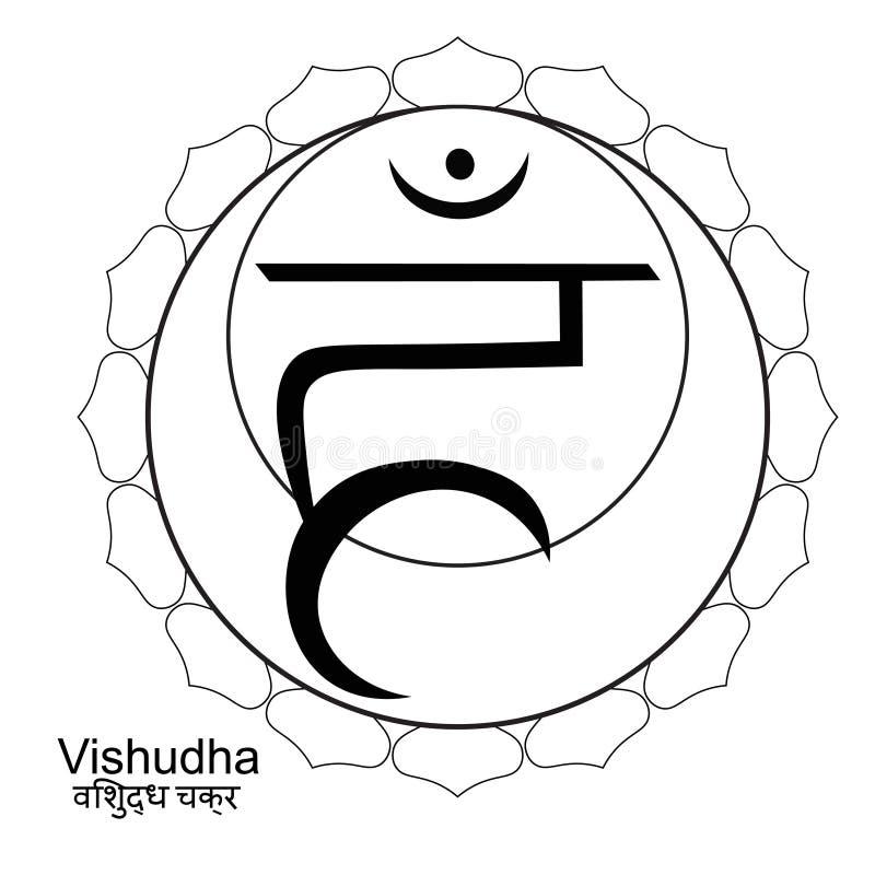 Färgläggningindier av vishuddhachakraen också vektor för coreldrawillustration royaltyfri illustrationer