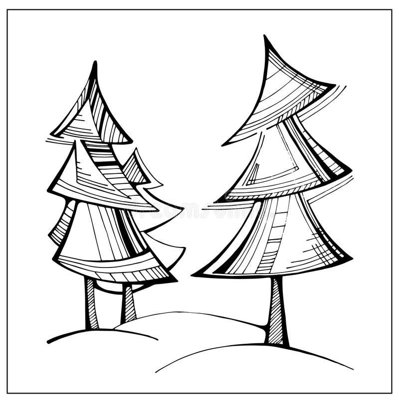 Färglöst stiliserat gran-träd Dragit konstverk för vektor hand royaltyfri illustrationer
