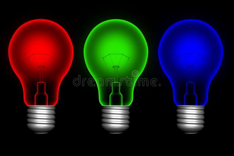 färglightbulbs vektor illustrationer