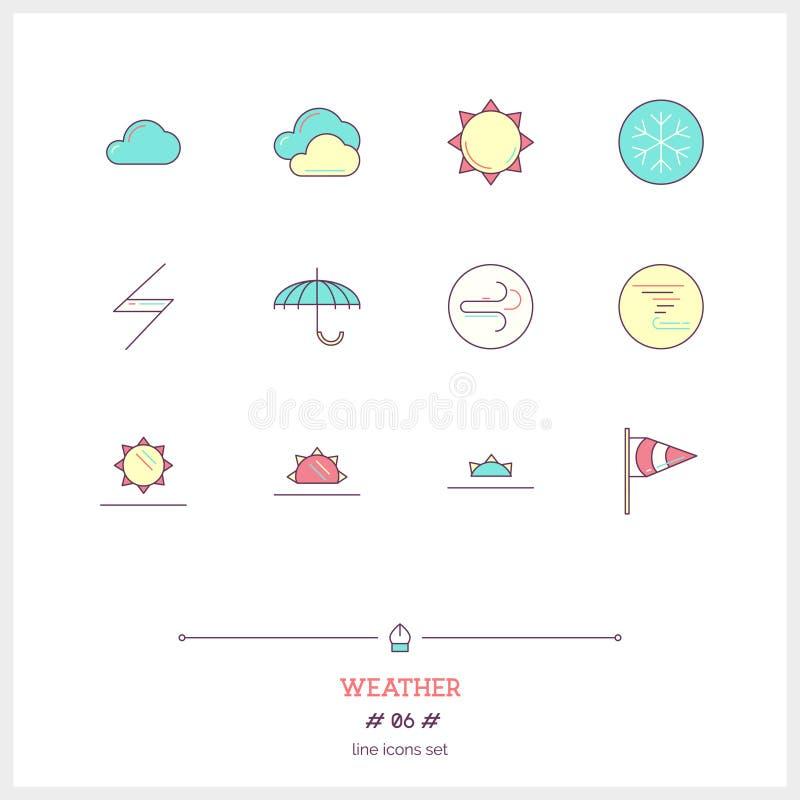 Färglinje abstrakt begreppsymbolsuppsättning av det lokala aktuella vädervillkoret vektor illustrationer