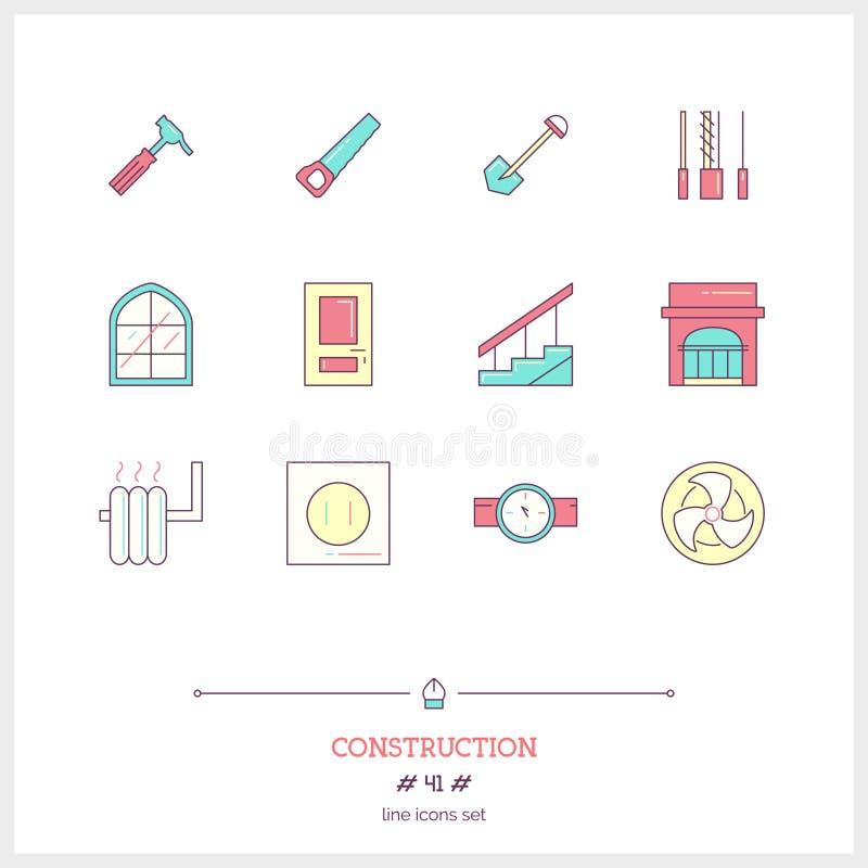 Färglinje symbolsuppsättning av konstruktionsobjekt Konstruktionshjälpmedel, royaltyfri illustrationer