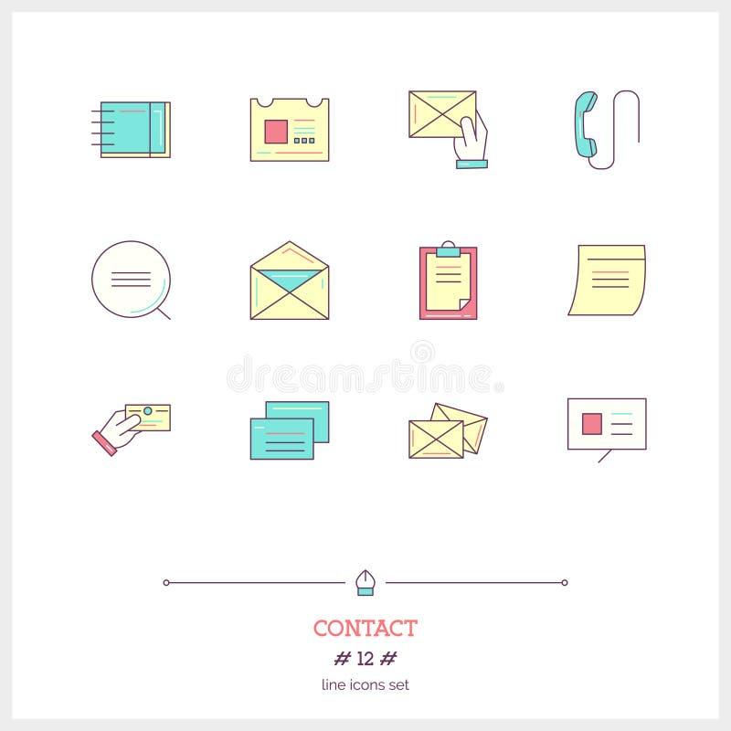 Färglinje symbolsuppsättning av kontaktformen, information, objekt och till stock illustrationer