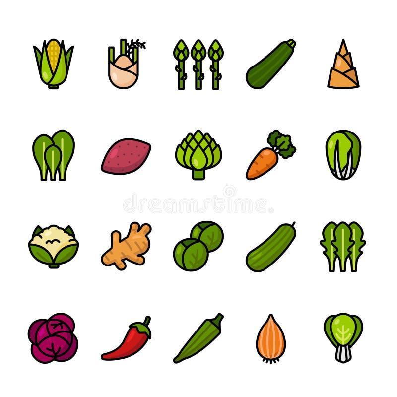 Färglinjen symbol ställde in av grönsaker Perfekta symboler för PIXEL royaltyfri illustrationer