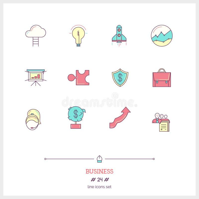 Färglinjen symbolsuppsättning av affärsprocessen, anmärker och bearbetar eleme royaltyfri illustrationer