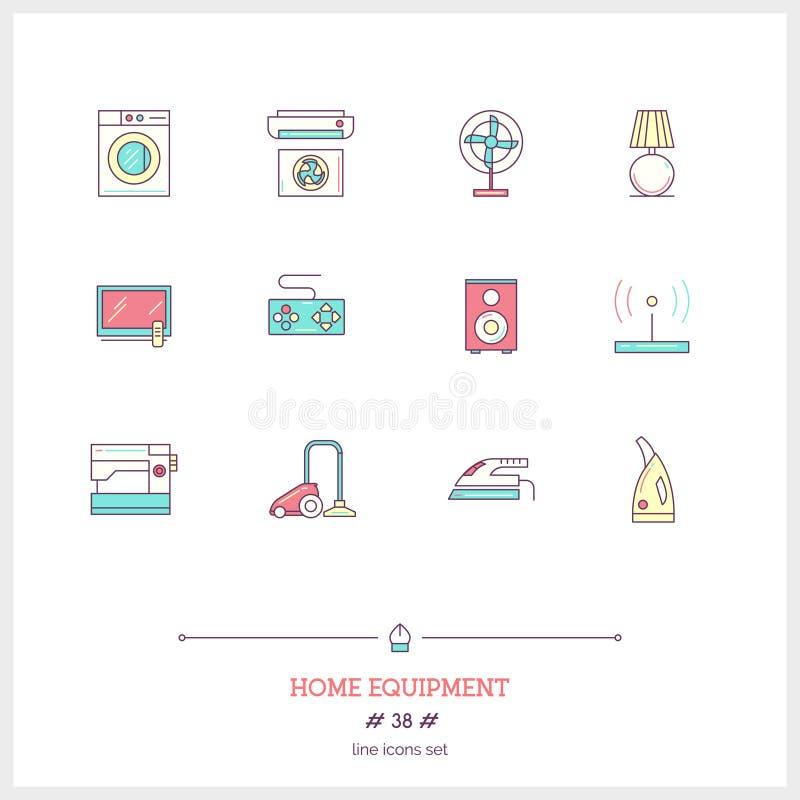 Färglinjen symbolsuppsättning av hem- utrustning anmärker Logosymboler stock illustrationer