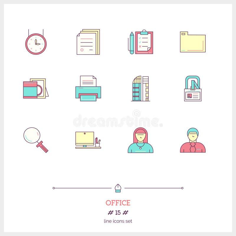Färglinjen symbolsuppsättning av kontorsutrustning, anmärker och bearbetar eleme vektor illustrationer