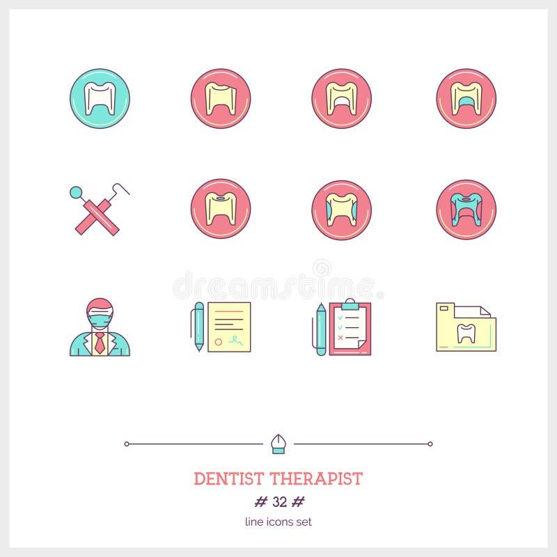 Färglinjen symbolsuppsättning av tandläkareterapeuten anmärker, hjälpmedel och elem vektor illustrationer