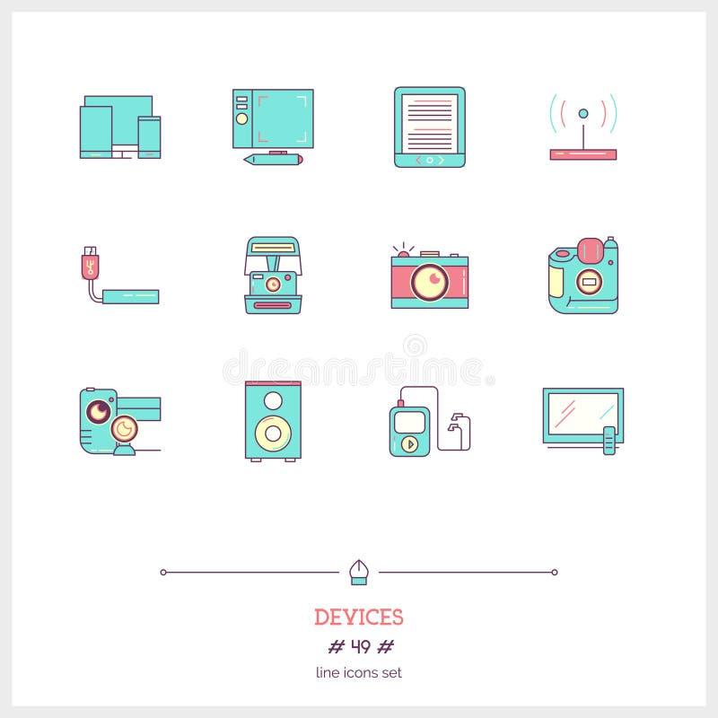 Färglinjen symbolsuppsättning av teknologiapparatsymboler ställde in teknologi stock illustrationer