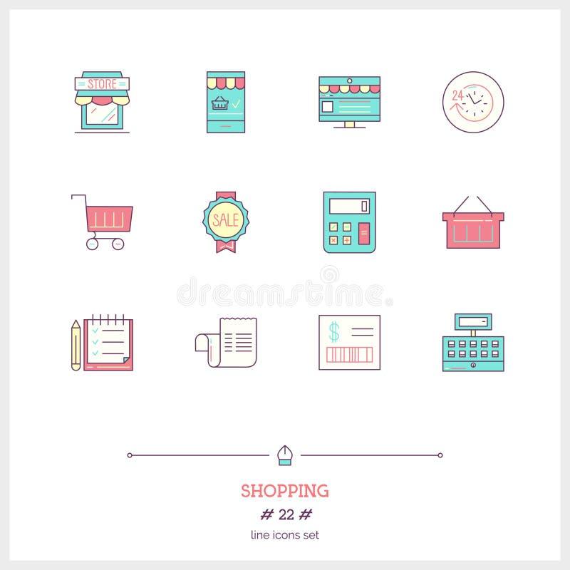 Färglinjen symbolsuppsättningen av shopping, lager anmärker och bearbetar beståndsdelen royaltyfri illustrationer