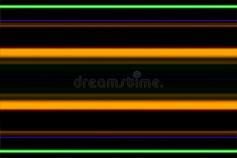 Färglinjer från neonljus på svart bakgrund vektor illustrationer