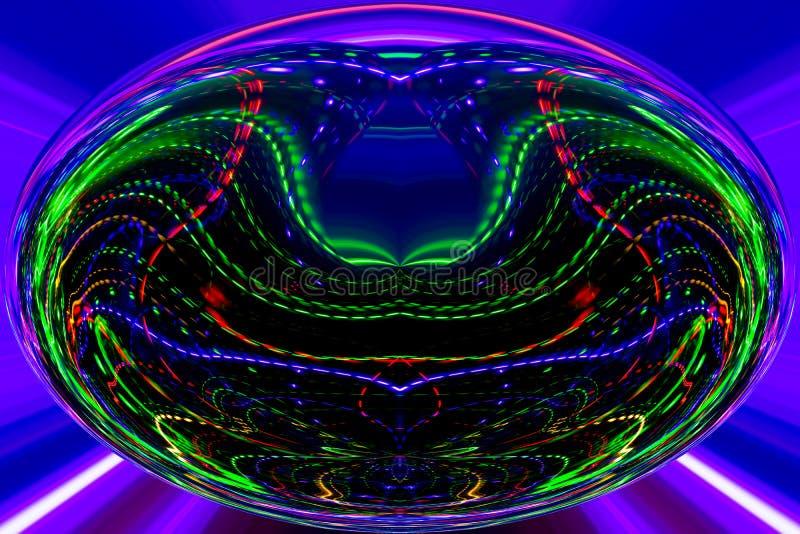 Färglinjer och kurvor skapar fantastisk elipsebild stock illustrationer
