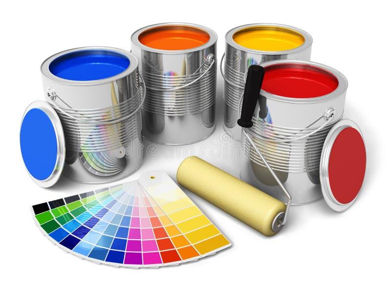 Färgmålarfärg, rullborste och färghandbok vektor illustrationer