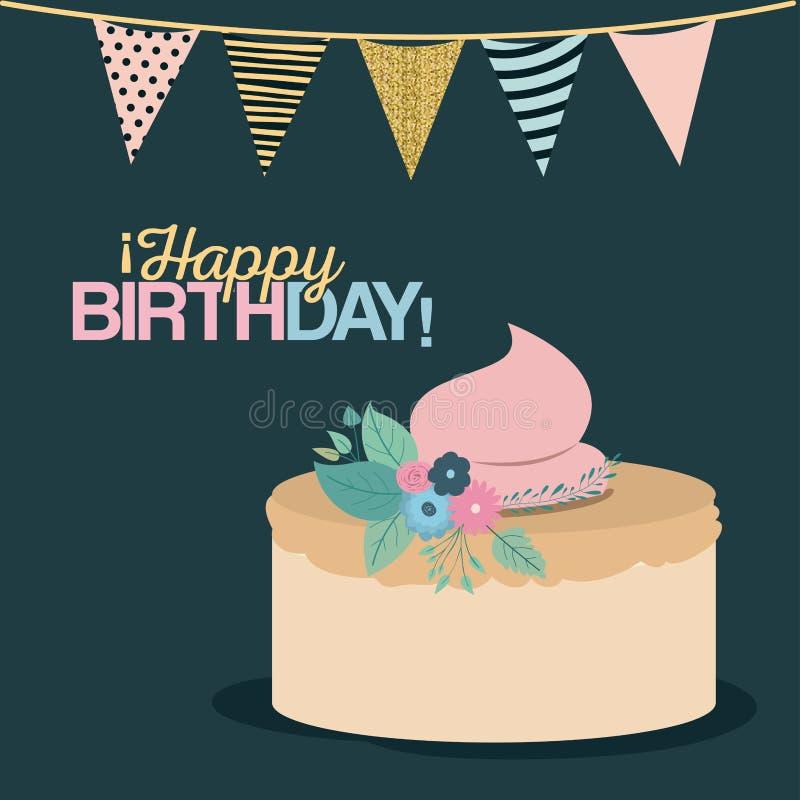 Färgmörker - grön bakgrund med dekorativa flaggor som festar, och den söta kakan och som smsar lycklig födelsedag royaltyfri illustrationer