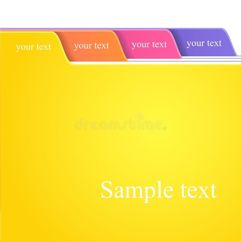 färgmappflikar stock illustrationer