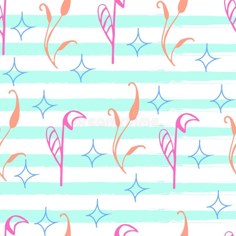 Färgmodellen av rosa färger blommar på en blå bakgrund, vektorillustration royaltyfri illustrationer