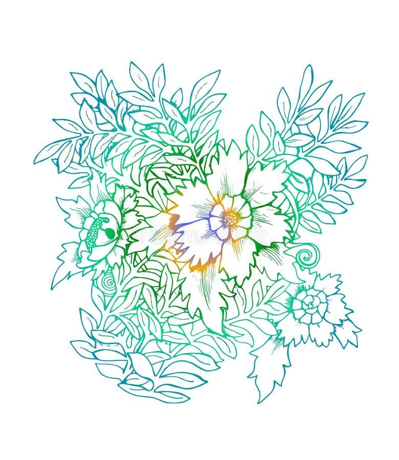 Färgneonillustration av en bukett av blommor Svartvit bukett arkivfoton