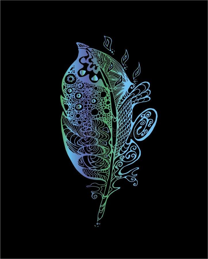 Färgneonillustration med stiliserade fjädrar med klottermodeller stock illustrationer