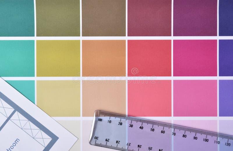 Färgpalett för att inhysa garneringprojektöverkanten arkivbild