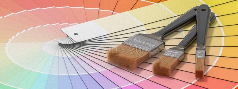 Färgpalett - handbok av målarfärgprövkopior och målningborstar framförd illustration 3d vektor illustrationer
