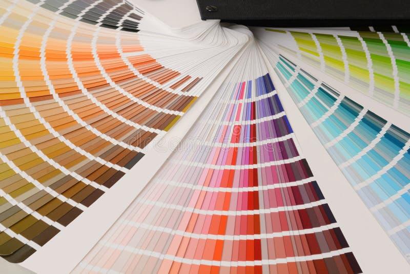 Färgpalett med olika prövkopior arkivfoton