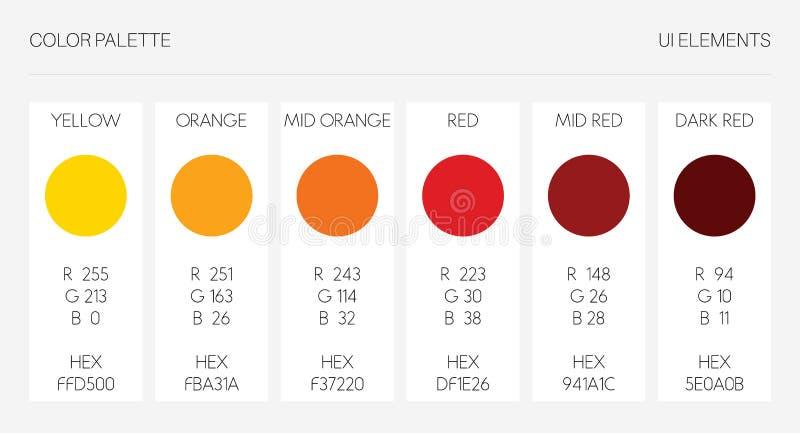 Färgpalett, uibeståndsdelar Rgb-vektorillustration, mall för färguppsättning Guling apelsin som är röd, marsalasignal på vit vektor illustrationer