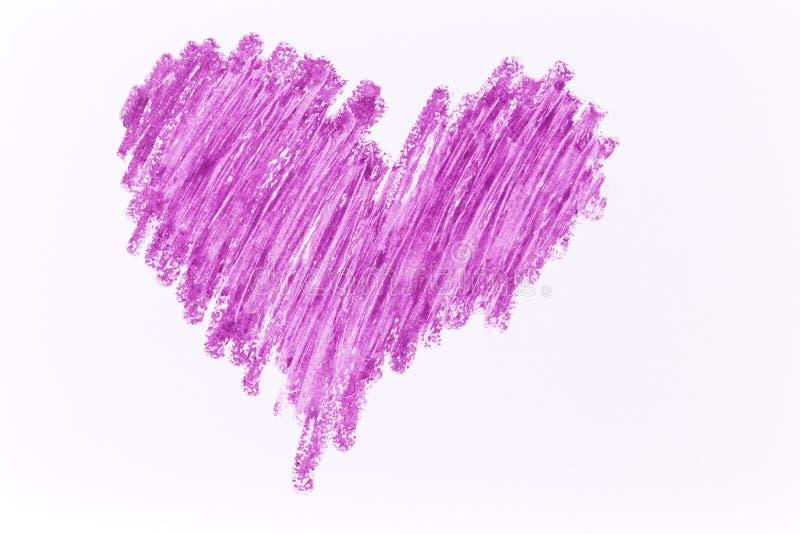 Färgpennaattraktion för purpurfärgad hjärta royaltyfria bilder