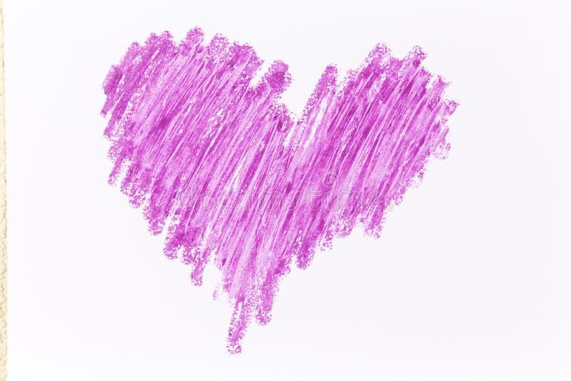 Färgpennaattraktion för purpurfärgad hjärta royaltyfri bild