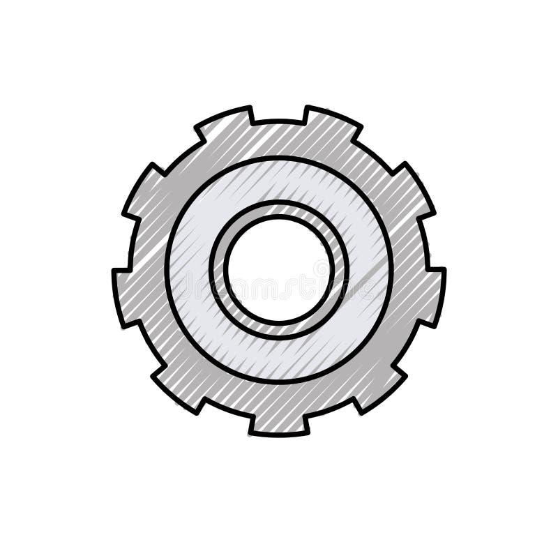 Färgpennakontur av kugghjulet av hjulet royaltyfri illustrationer