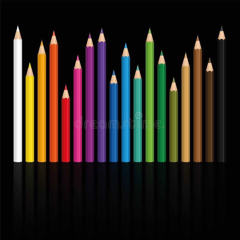 Färgpennor ställde in olika längder stock illustrationer