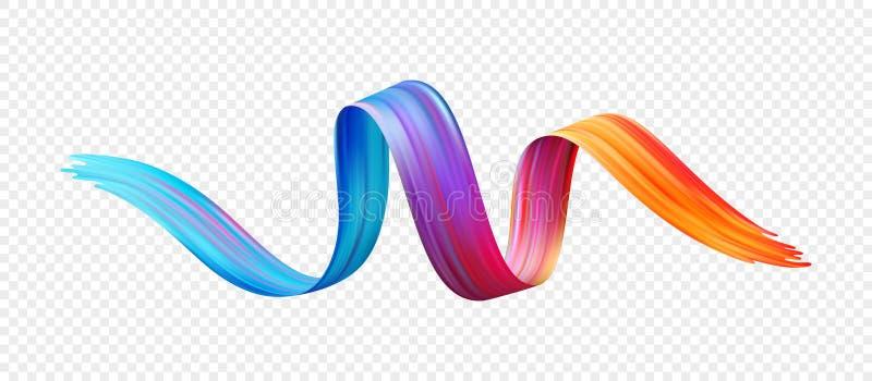 Färgpenseldragolja eller beståndsdel för design för akrylmålarfärg också vektor för coreldrawillustration