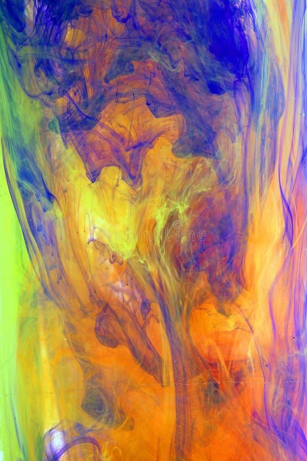 Abstrakt konstverk med färgpulver bevattnar in vektor illustrationer