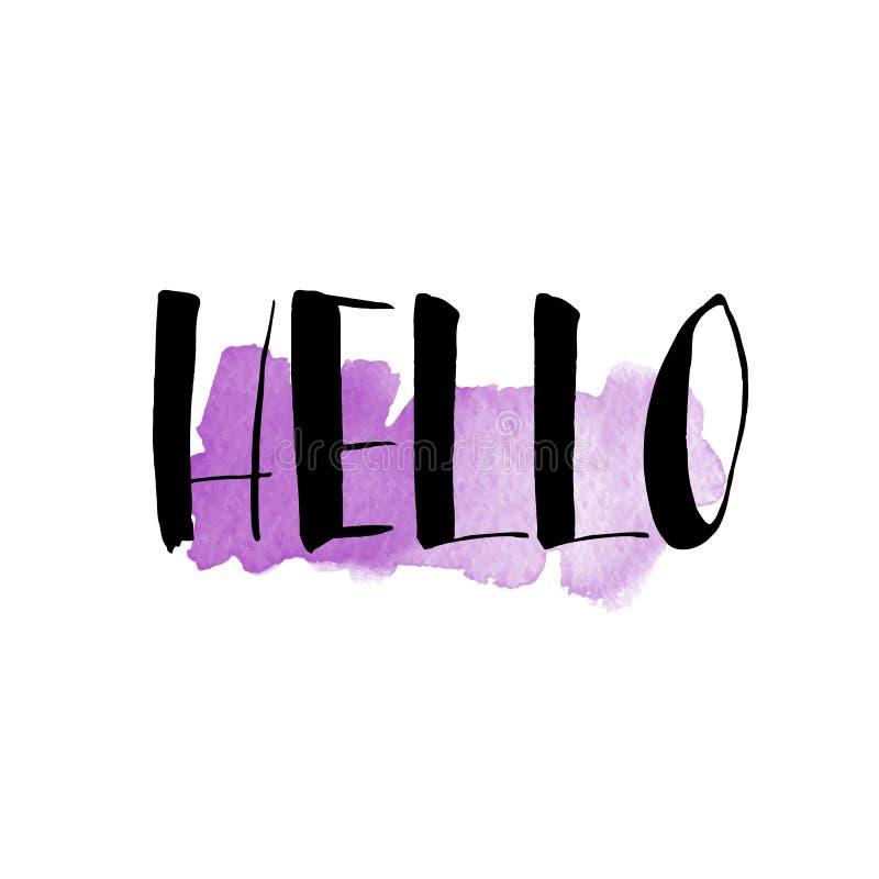 Färgpulver- och för vattenfärgborstehand bokstäver hälsningar Modern calligrap stock illustrationer