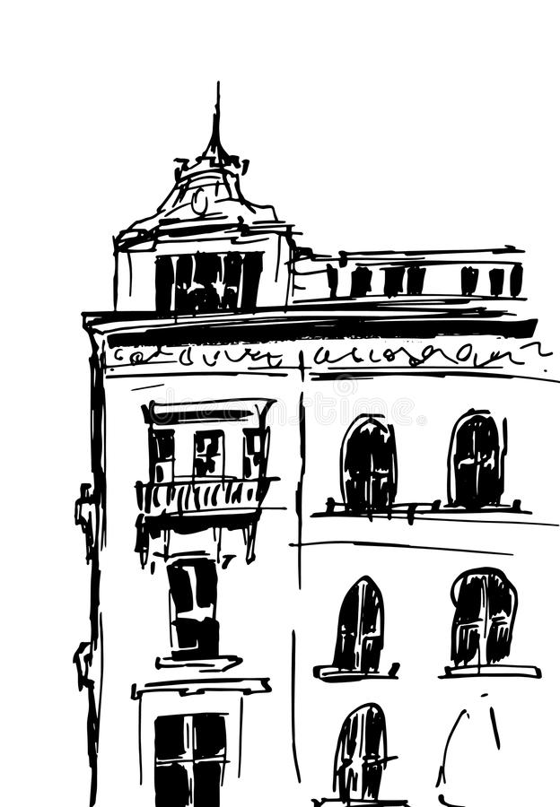 Färgpulver skissar av byggnader Räcka den utdragna vektorillustrationen av hus i den europeiska gamla staden Loppkonstverk Svart  royaltyfri illustrationer
