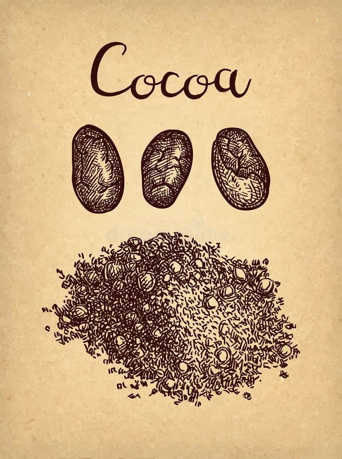Färgpulver skissar av kakaopulver royaltyfri illustrationer