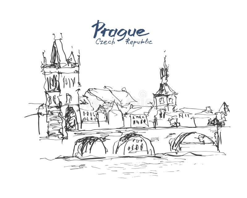 Färgpulver skissar linjen teckning av cityscape för den Prague gammal stadöverkanten med mummel stock illustrationer