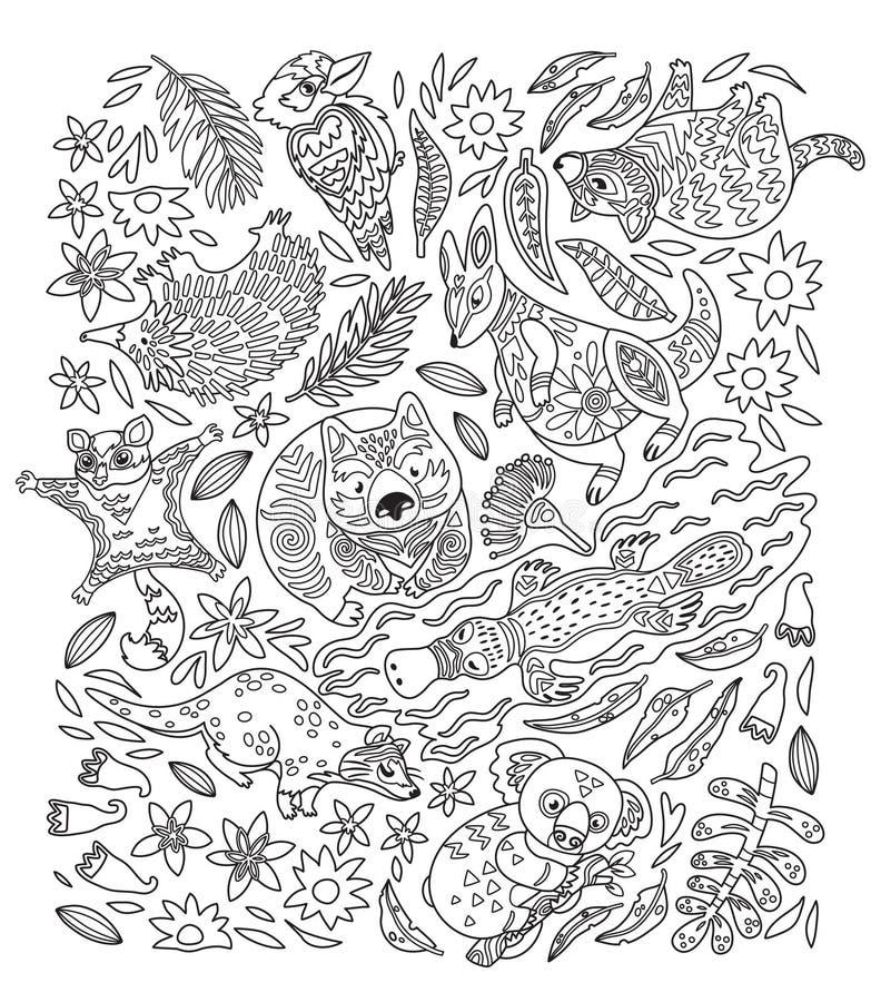 Färgpulver ställde in av dekorativa australiska djur också vektor för coreldrawillustration vektor illustrationer