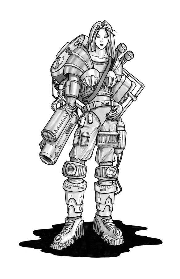 Färgpulverbegrepp Art Drawing av Cyborgkvinnan med vapnet som fästas till hennes arm stock illustrationer